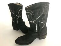 Guess Esperanza Short Leather Boots Stud Design Women 10 Charcoal Excellent Hot