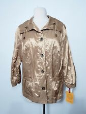 Ruby Rd. Gold Metallic Jacket Gold Button Down Women's Size 14  NWT $64.00