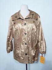 Ruby Rd. Gold Metallic Jacket Gold Button Down Women's Size 14  NWT $64.00