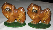 Antique Hubley Pekingese Toy Dog Bookends Cast Iron Art Statue Bookends Chinese