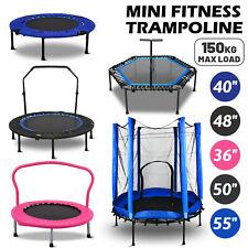 Mini Trampoline Fitness Foldable Handrail Rebounder Cardio Trainer Home Exercise