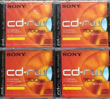 Sony CD-RW for High Speed Drives, 700 MB, 80 min, Set Of 4 Discs. Brand New