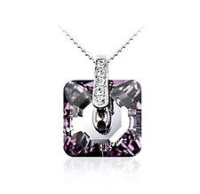 925 Sterling Silver Amethyst Purple Crystals Wedding Necklace N115