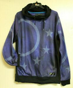 Entree LS Mens Dark Blue and Black Stars Hooded 2 Pockets Sweatshirt Size XL