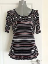 Dorothy Perkins Size 14 Navy Striped Grandad Top