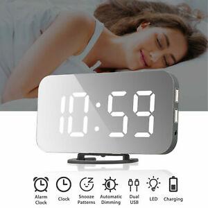 12/24H Desk Alarm Clock LED Mirror Display Digital Temperature Snooze Table USB