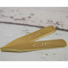 Personalised Engraved Gold Plated Stiffeners Collar Stays Ideal for Weddings