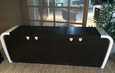Sideboard High Gloss White Dark Brown Leather Credenza 4 Door Cupboard CR1083S