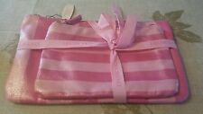 LOT OF 2 NWT Victoria's Secret Makeup Bag Cosmetics Cases sparkly Pink Stripes