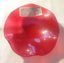 """Red Wavy Replacement Glass Dish For Oil/Tart Warmer Aromatherapy Burner 4 1/2"""""""