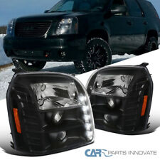 For GMC 07-14 Yukon Denali XL LED Black Projector Headlights Lamps Left+Right