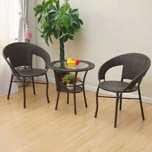 2 Seater Rattan Effect Patio/Balcony Set-Leisure Table & 2 Chairs