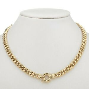 18K Yellow Gold GL Womens Solid Medium Euro Necklace & Life Buoy Bolt Ring Clasp