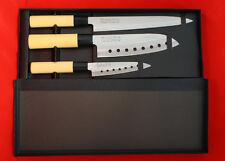 PRO LINE 3 PCS Traditional Professional Sushi Santoku Chef Knife Set. 3 Knives