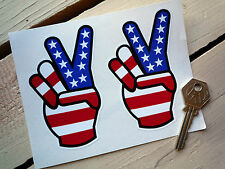 """USA Stars & Stripes 2 Fingers STICKERS 4"""" Pair American HARLEY DAVIDSON Peace"""