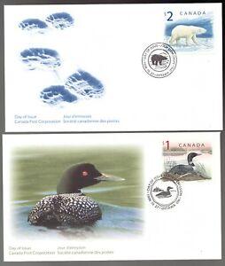 Sc1687 1690  FDC's - Canada - 1998 - $1 Loon / $2 Polar Bear -  superfleas