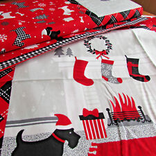 Christmas scotty highland dog cushion panel  printed on 100% cotton 50 x 110cm