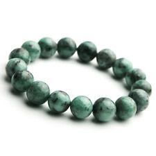 Genuine Natural Green Emerald Jade Gemstone Woman Round Beads Bracelet 12mm AAA