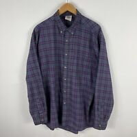 VINTAGE Landsman Mens Button Up Shirt Large Multicoloured Plaid Long Sleeve
