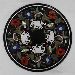 "24"" Marble Center Table Top Elephant Inlay Handmade For Home Decor And Garden"