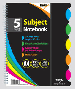 A4  TWIN WIRE 5-PART SUBJECT NOTEBOOK WITH TABBED SUBJECT DIVIDERS/FEINT RULED/