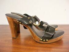 Frye #73620 Sophia Ring Leather Harness Wood Heel Women's Sandals Shoes Size 10