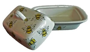 Bees butter dish traditional deep white dish decorated all over with cute bees