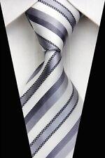 White, Silver & Grey Striped Silk Classic Woven Horse Show Tie *New*