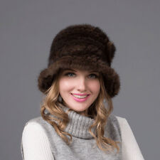 100% Real Winter Women Brown Knitted Mink Fur Hat Cap Headgear Tuque Beanie Hats