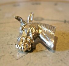 More details for vintage pocket watch chain silver horse fob 1970s solid silver equestrian fob