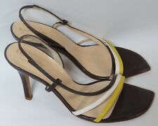 NEW Kate Spade Italy Leather Brown Yellow White Strappy Sling Back Heels 6.5 B