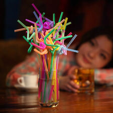 50PCS*Colorful Cocktail Drinking Party Extra Long Flexible Drinking Bendy Straw