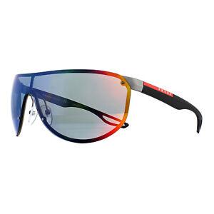 Prada Sport Sunglasses 61US 9Q19Q1 Gunmetal Rubber Dark Grey Mirror Blue Red