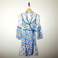 Anthropologie Lilka Floral Wrap Dress Medium Blue Orange Flowers Cotton Boho