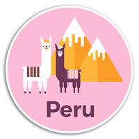 2 x 10cm Peru Pink Llama Vinyl Stickers - Sticker Car Luggage Travel Gift #19239
