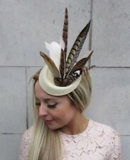 Cream Brown Pheasant Feather Pillbox Hat Fascinator Races Hair Clip Ascot 5225