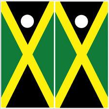 Cornhole Wraps JAMAICAN FLAGS Green Gold Jamaica Vinyl Decal Wraps 2pack CL