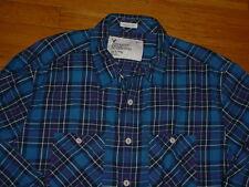American Eagle Athletic Fit Navy/Blue Plaid Flannel Shirt Cotton Mens XLT Nice!