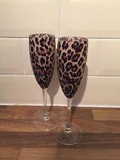 Set Of 2 Leopard Animal Print Design Champagne Flutes In Browns & Black