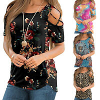 Women's Cold Shoulder Short Sleeve Tops Ladies O Neck Blouses T Shirt Summer Tee