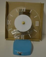 "NW Clock Acrylic Clear BLUE RETRO Battery Large 6.25"" FACE Home DORM TIME LED"