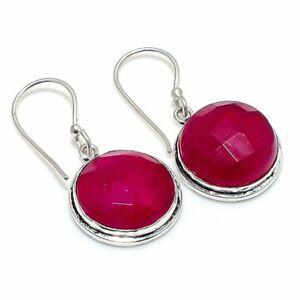 """Kashmir Red Ruby Gemstone Gift 925 Sterling Silver Jewelry Earring 1.42 """" j860"""