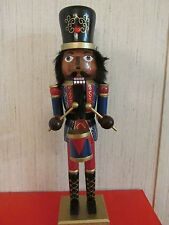 African American Christmas  Nutcracker Ethnic Black Royal King Drummer RED