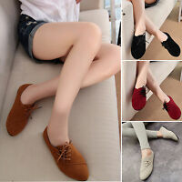 Womens Nubuck Leather Shoes Ladies Lace Up Loafers Casual Flat Pumps Size 3-6.5