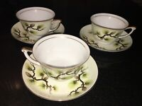 Narumi Fine China Set Of 3 Shasta Pine Cream Tea Cups Made in Japan 1958 EUC