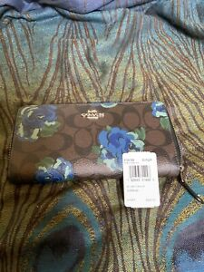 Coach Accordian Zip Wallet F38189 NWT Brown/Black Floral Retail $250