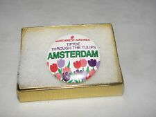 """NWA BUTTON NORTHWEST AIRLINES """"AMSTERDAM""""  ROUTE VINTAGE COLLECTIBLE PIN"""