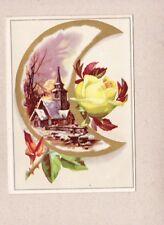 Victorian Scrap Trade Card Crescent Moon Yellow Rose Winter Church Scene NOS