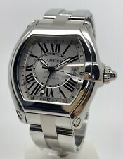 Authentic Cartier Roadster XL GMT 2722 Men's Automatic Steel Watch W62032X6 Box