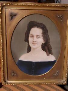 Antique 19th century VICTORIAN Pastel PORTRAIT Young Lady 26x21 Gold Gilt Frame